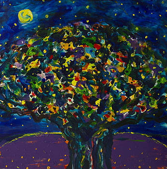 Tree with a Full Moon and Stars No.2